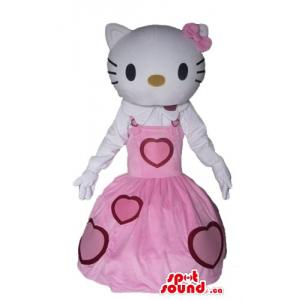 Olá Kitty no vestido cor-de...