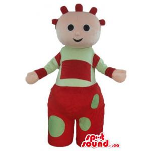 Tombliboos in red and green dress cartoon character Mascot