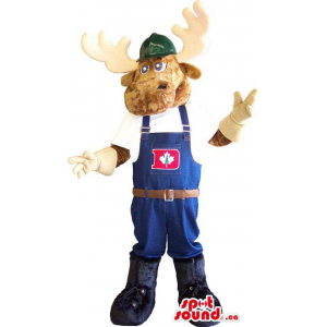 Deer Animal Mascot Dressed In Worked Overalls With A Letter