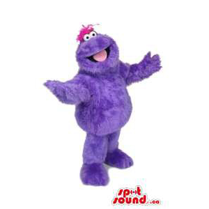 All And Customised Purple Monster Mascot With Peculiar Pink Hair