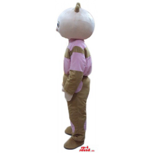 Tombliboos in pink and brown dress cartoon character mascot costume