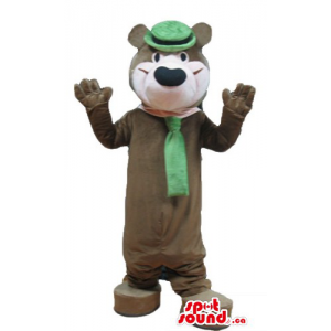 Cute green hat bear cartoon...
