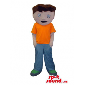 Boy Mascot With Brown Hair...