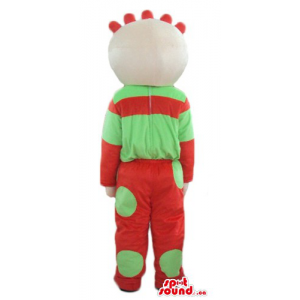 Tombliboos in red and green dress cartoon character mascot costume
