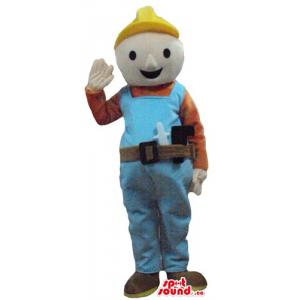 Bob the builder in yelow helmet cartoon character Mascot costume
