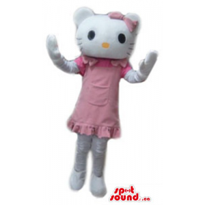 Hello Kitty in pink robe...